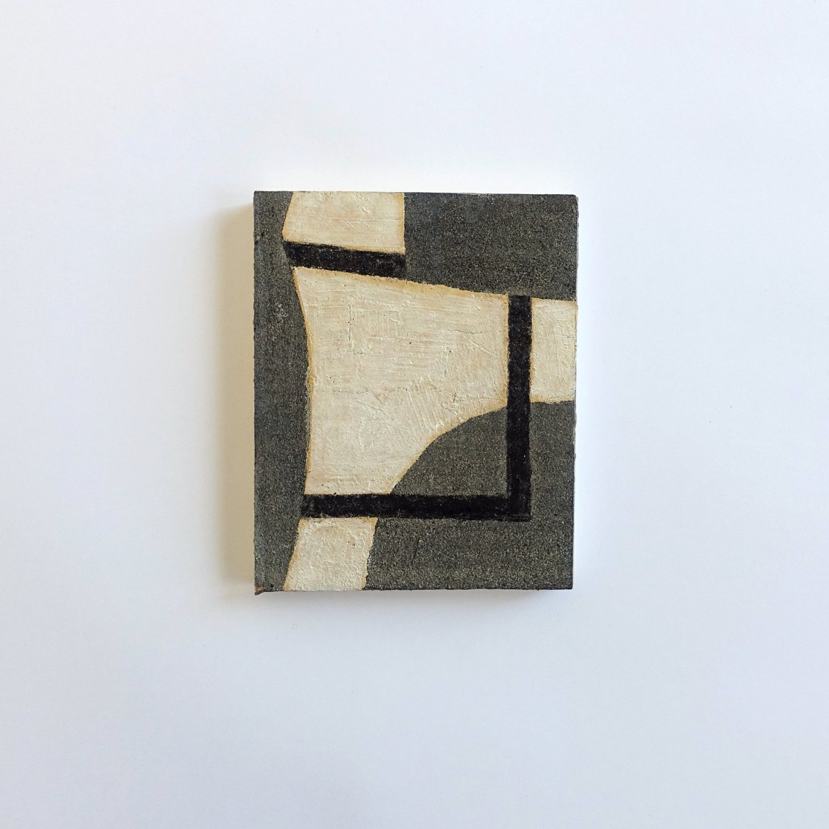 #3 Hans Emmelkamp, Struttura (1), olieverf op mastiek, 15,5 x 12,3 cm