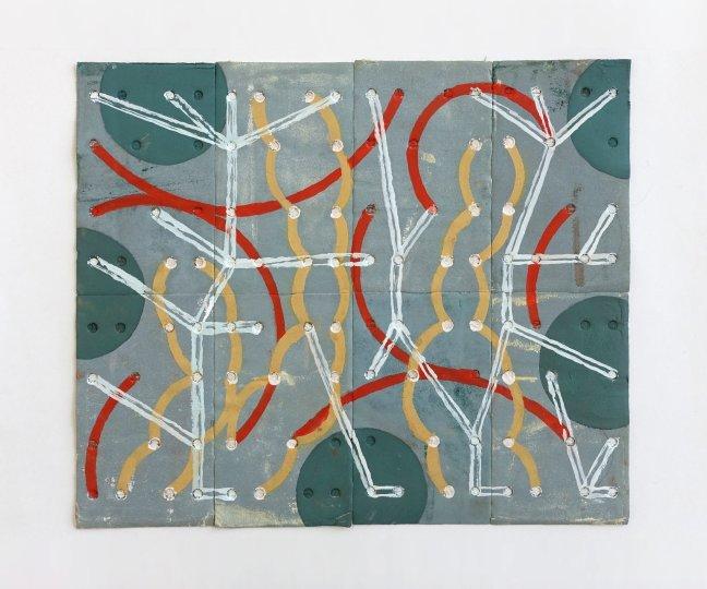 #2 Marian Bijlenga, collage schuurpapier en acryl, 28,5 x 31,5 cm