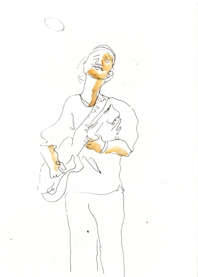 #37 Maartje Jaquet, Kokoroko Oscar Jerome, inkt en aquarel op papier, 21×29,7 cm
