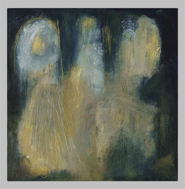 #42 Esther van Dijk, Drie kometen, olieverf en was op paneel, 2020, 20x20 cm