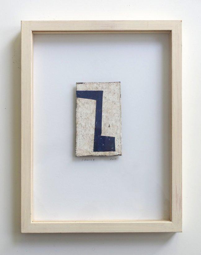 #45 Hans Emmelkamp, Zonder titel, gemengde techniek op mastiek, 12x8,5 cm in lijst 37x21 cm