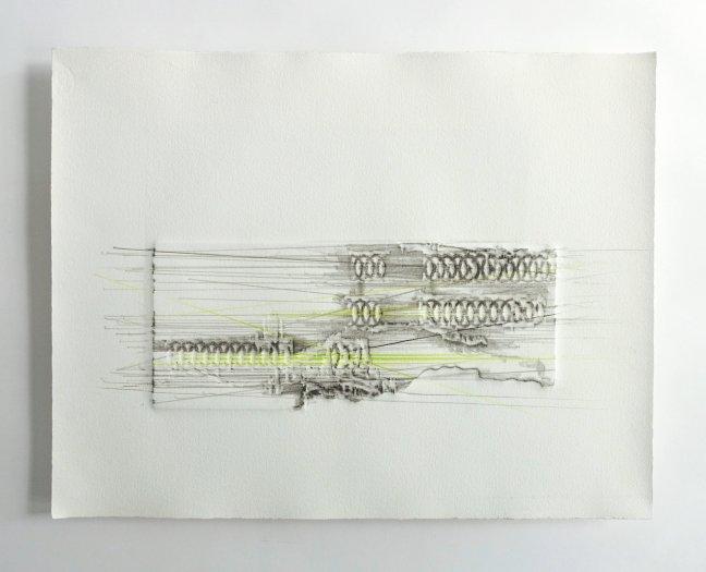 #52 Monique Kwist, Transforming Patterns, reliëfdruk oplage 2 met unieke tekening, 34x44 cm